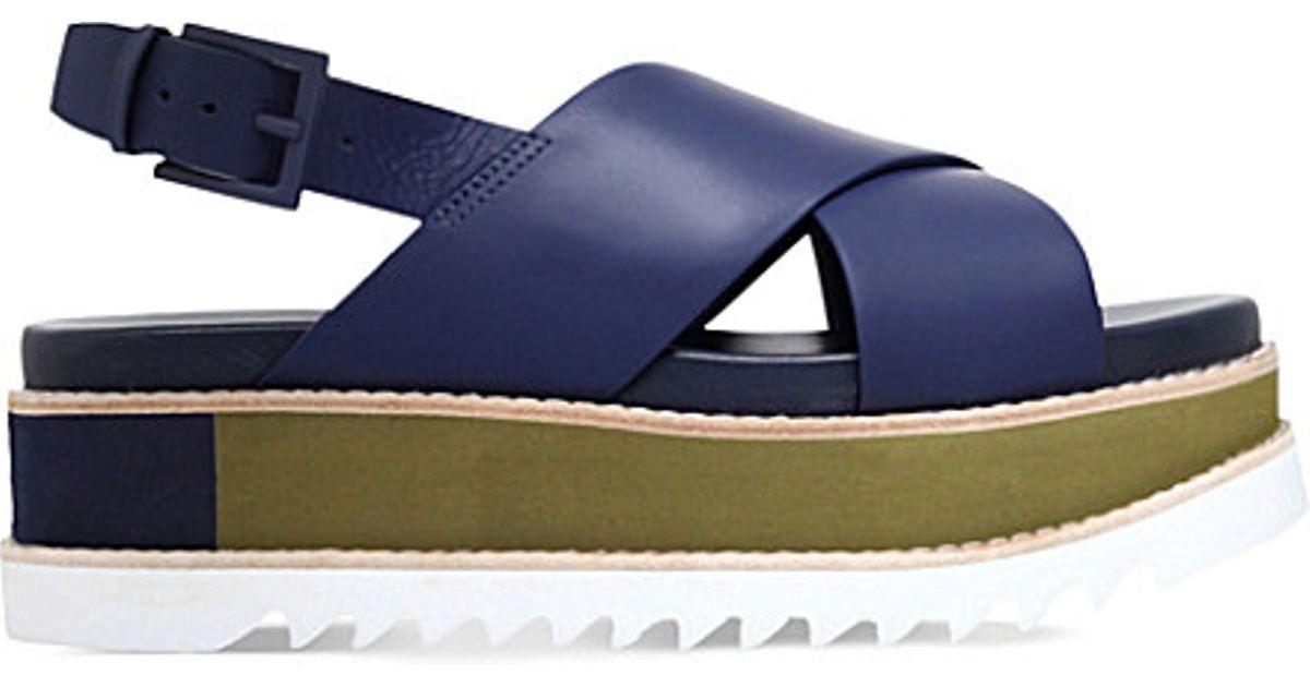 4a9ab52439c Lyst - Tory Burch Gloriette Leather Flatform Sandals in Blue