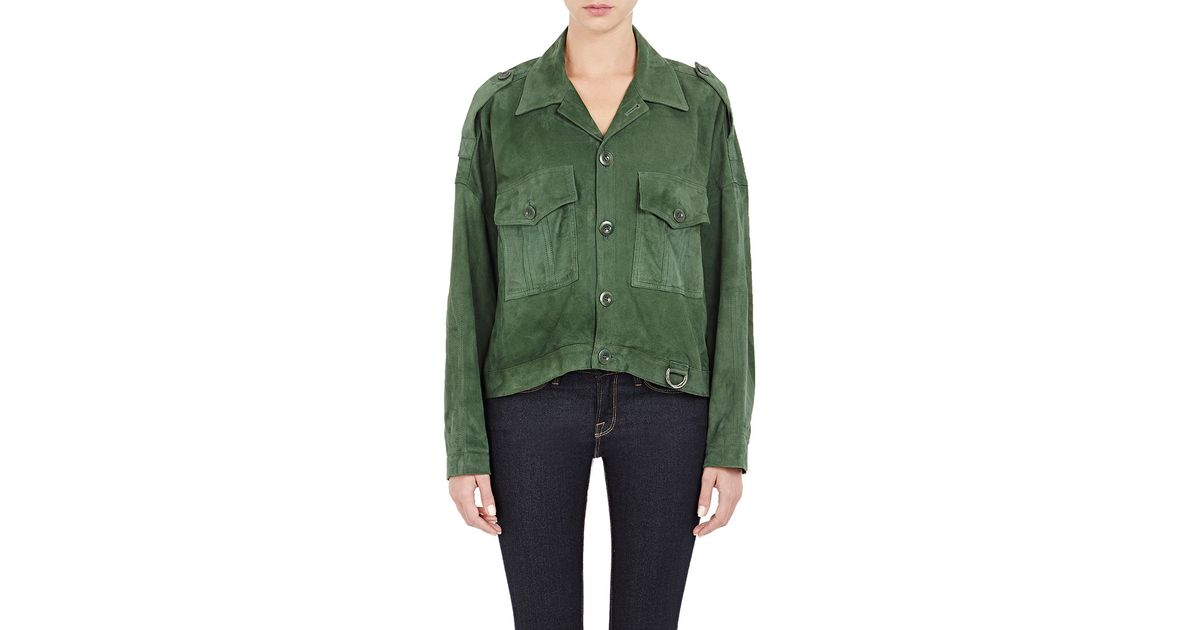 a899248e2 Band of Outsiders Green Women's Suede Military Jacket
