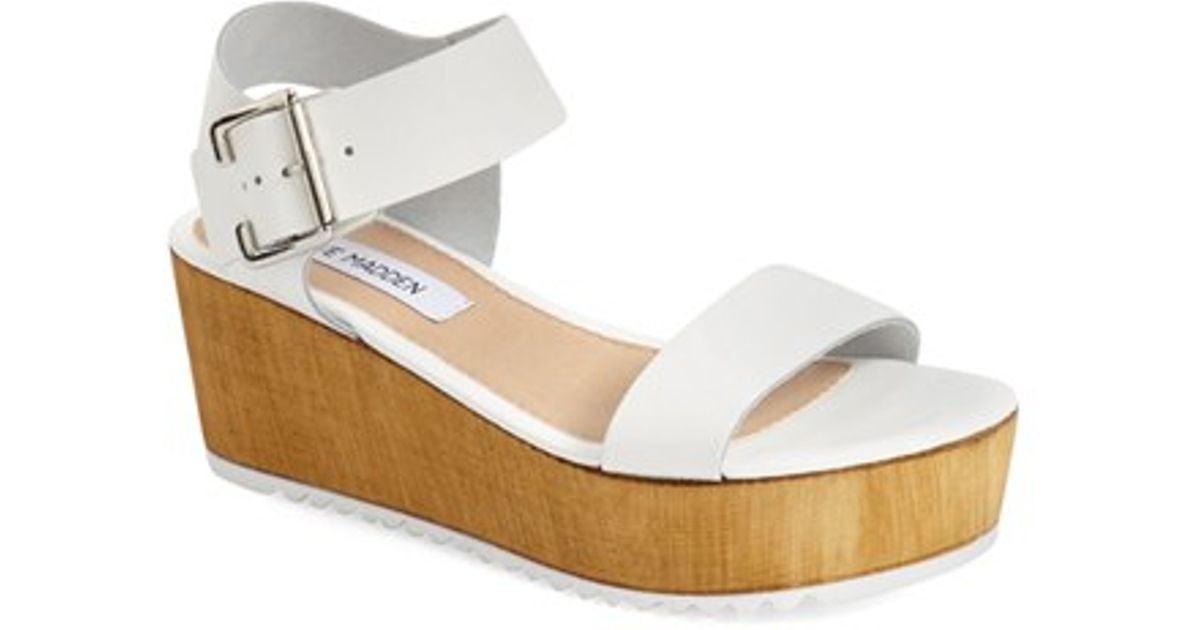 48393d20680 Lyst - Steve Madden  nylee  Platform Sandal in White