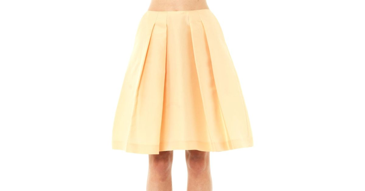 jil sander navy cotton a line skirt in yellow save 71
