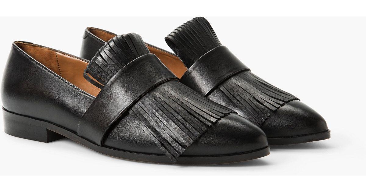 MANGO Fringed leather shoes gEVuvc