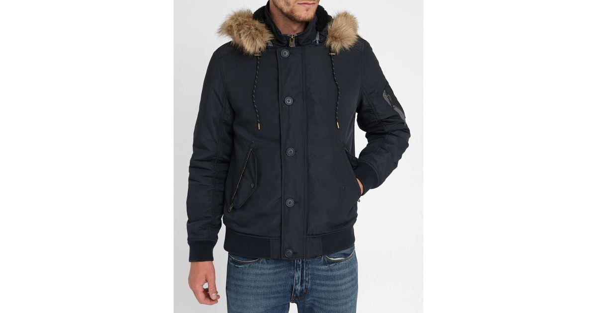 Jack Amp Jones Navy Fur Lined Hooded Rib Jacket In Blue For