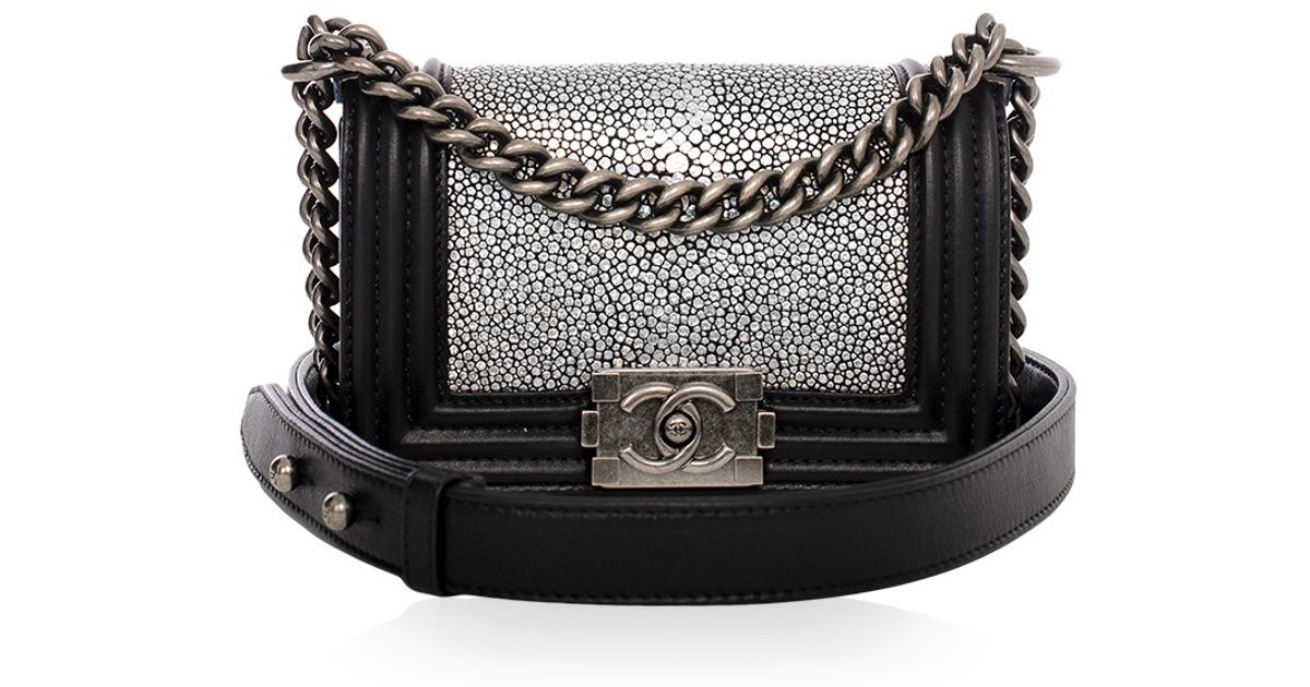 8937b854a2cf03 Madison Avenue Couture Chanel Metallic Stingray Calf Leather Mini Boy Bag  in Black - Lyst