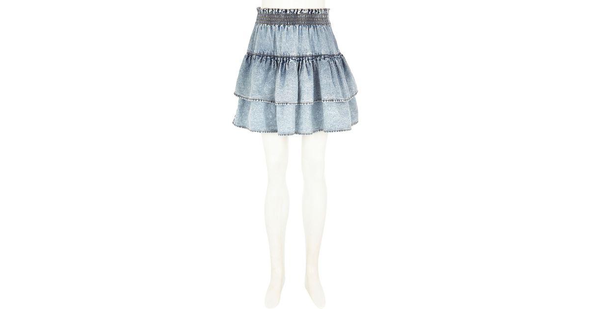 river island light denim rara skirt in blue lyst