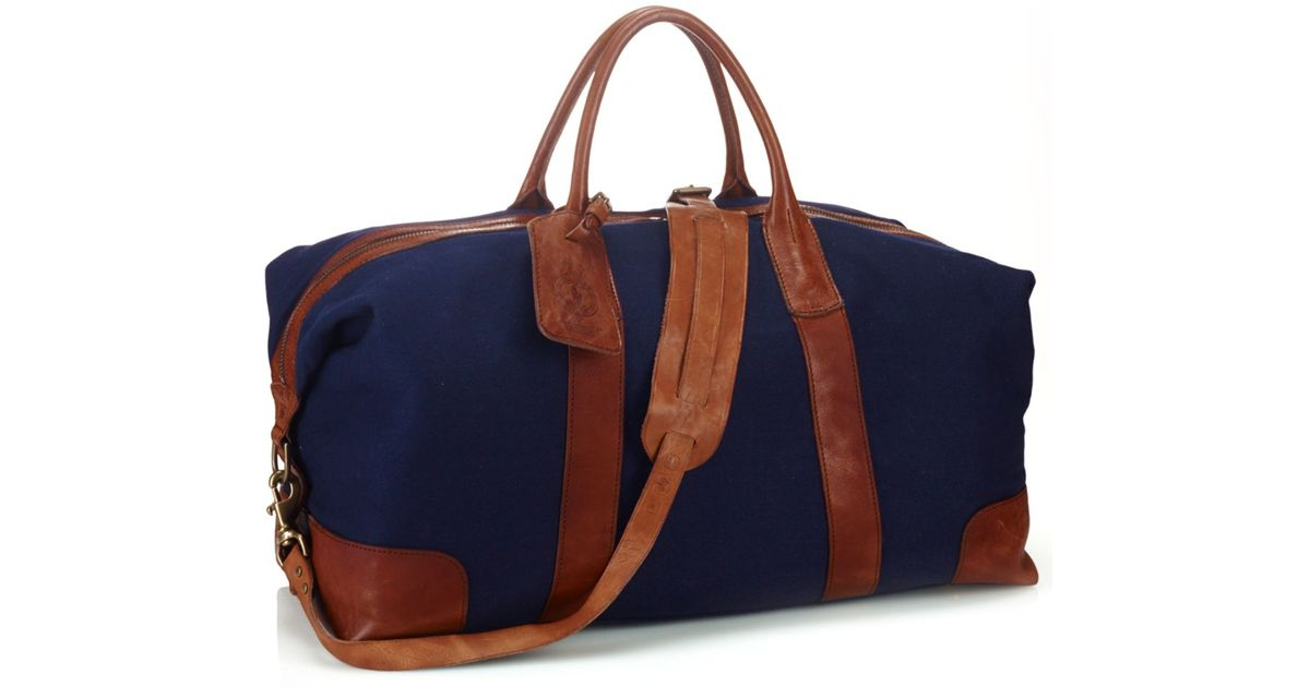 Ralph Lauren Polo Leather Canvas Tote Navy