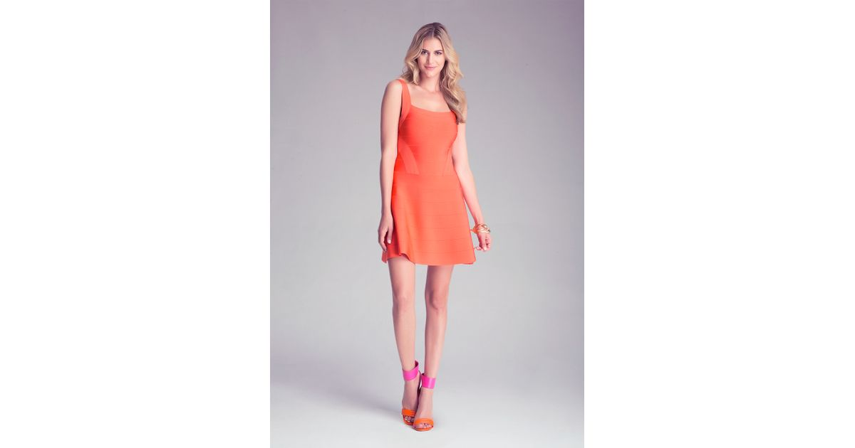 Bebe Colorblock Fit N Flare Dress In Red Lyst