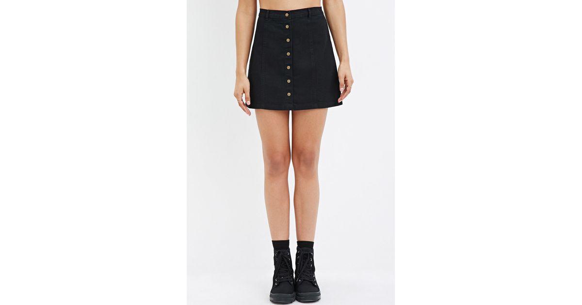 0a9f597b3 Forever 21 Button-down Denim Skirt in Black - Lyst