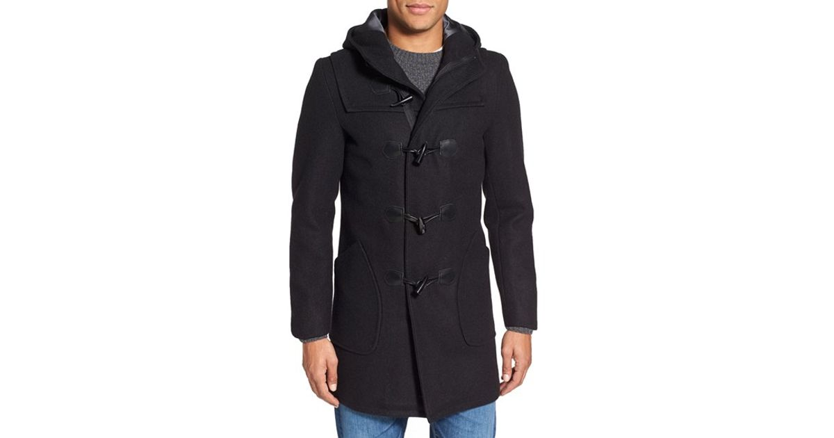Schott nyc Satin Lined Wool Blend Duffle Coat in Black for Men | Lyst