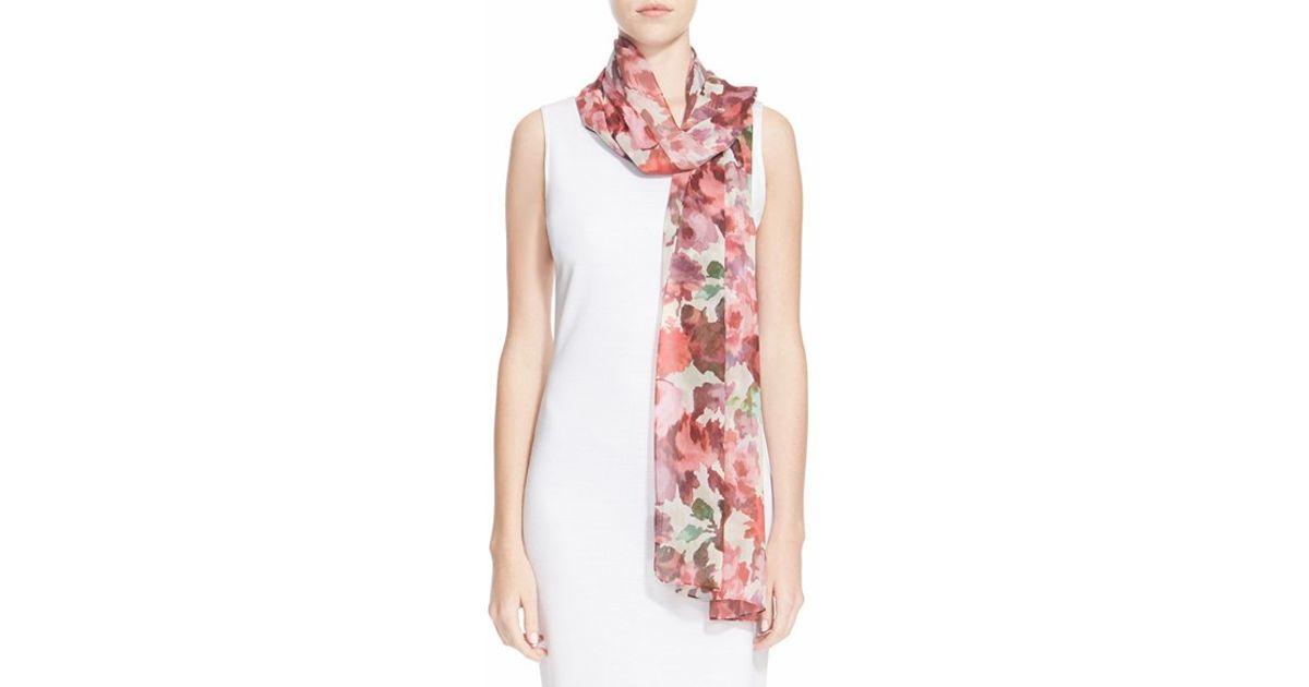 st brigitte floral print silk georgette scarf in