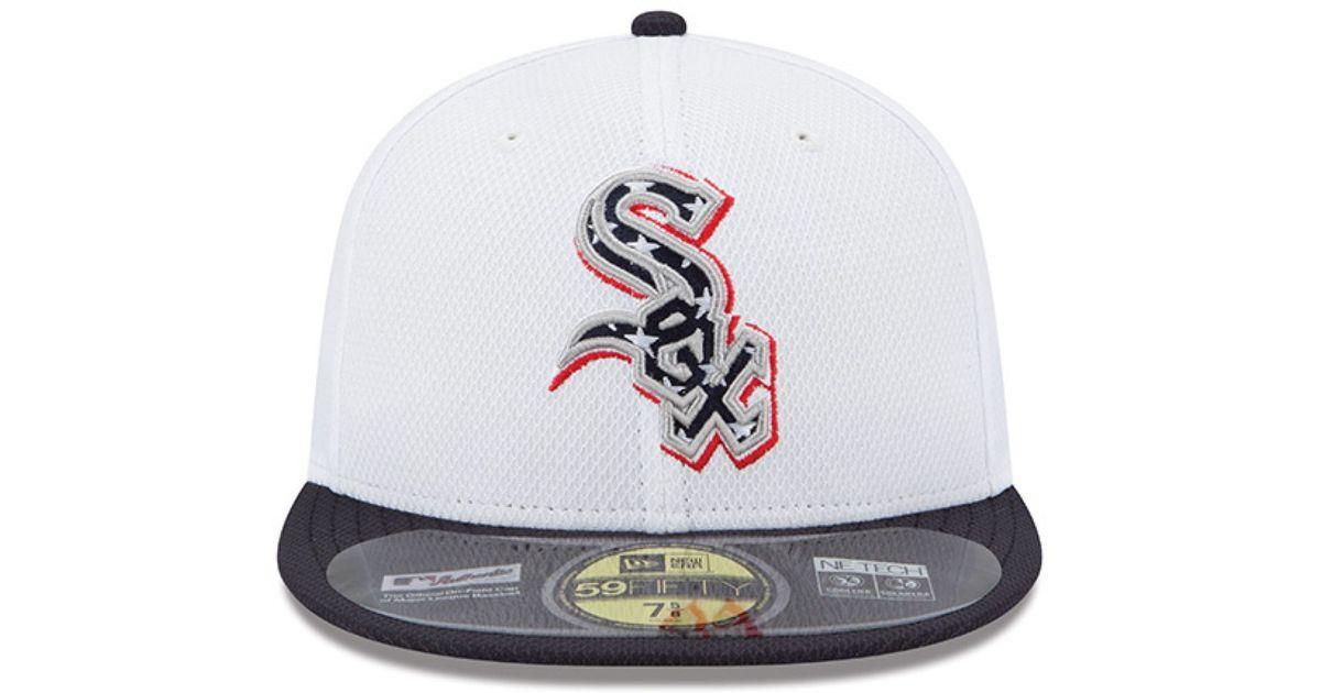 d233b1afbd3 Lyst - KTZ Chicago White Sox Mlb 2013 July 4th Stars   Stripes 59fifty Cap  in White for Men