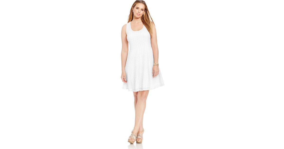 Soprano White Plus Size Lace Skater Dress