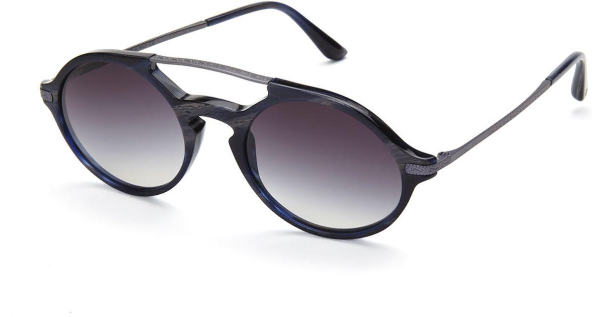 213de605598 Lyst - Giorgio Armani Ar8018 Grey   Blue Printed Retro Round Sunglasses in  Black for Men