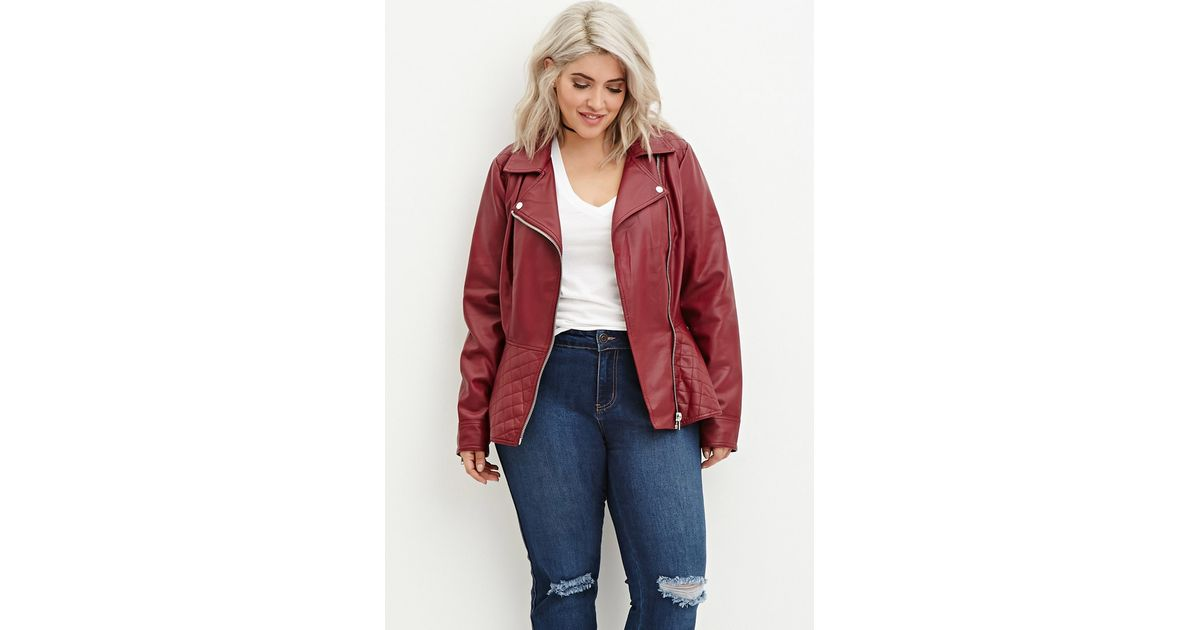 1decfde083e Forever 21 Plus Size Quilted Peplum Moto Jacket in Red - Lyst