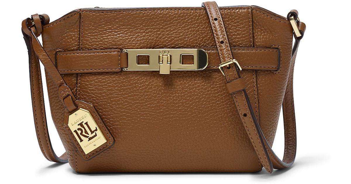 5f18346f8c5 Lyst - Ralph Lauren Darwin Leather Cross-body Bag in Brown
