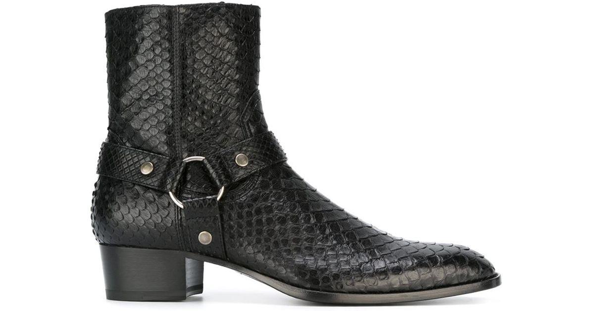 Lyst Saint Laurent Wyatt Ankle Boots In Black For Men