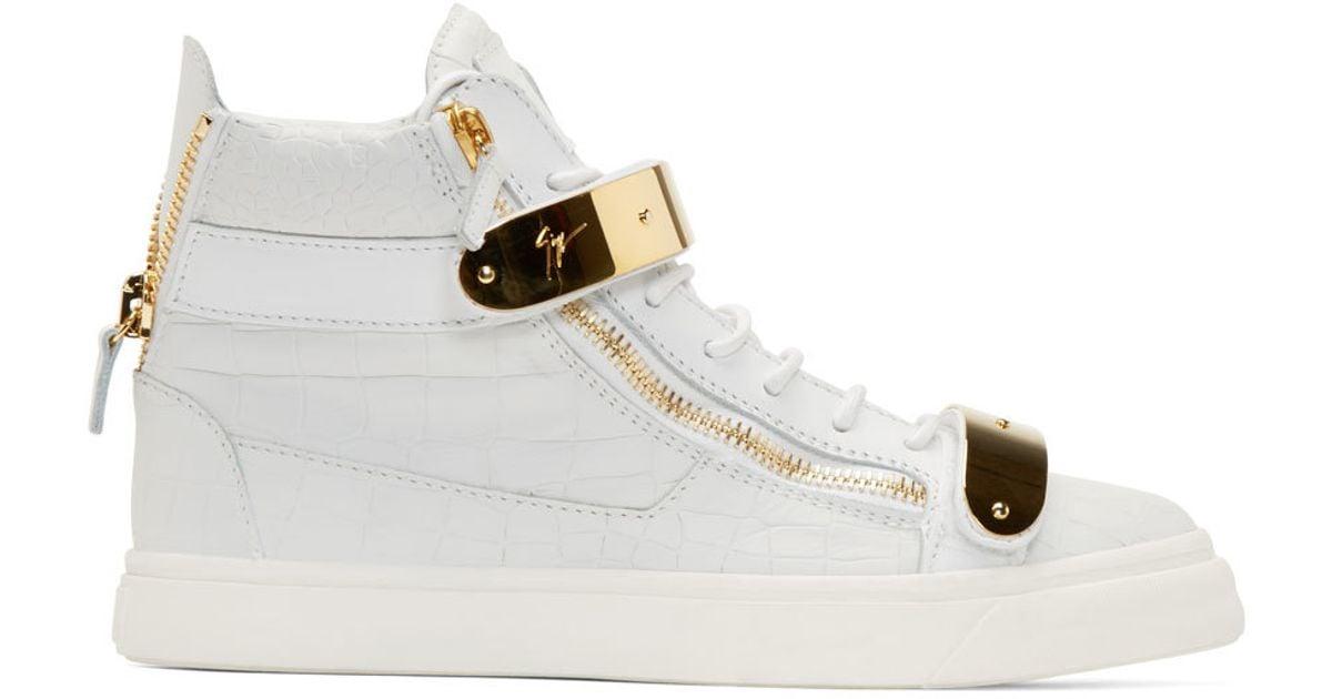 Gold Croc-embossed Ringo Sneakers