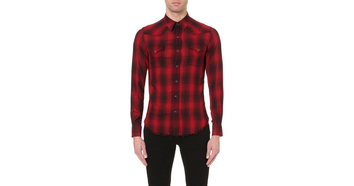 Outlet With Paypal plaid shirt - Red Saint Laurent Buy Cheap Extremely EchQGK
