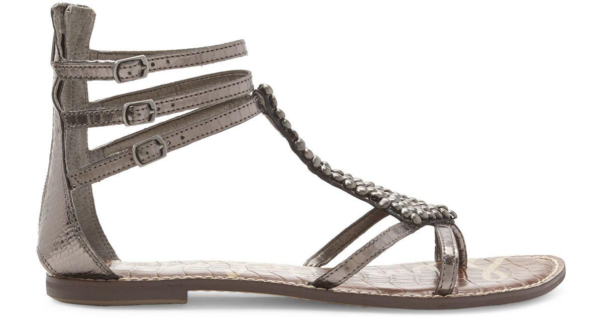 58d827c0db60 Lyst - Sam Edelman Pewter Ginger Embellished Gladiator Sandals in Metallic