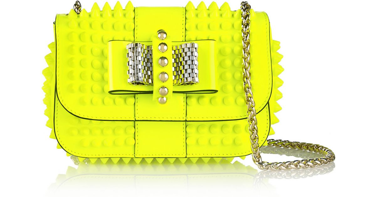f4f7b5b4f84 Christian Louboutin Yellow Sweety Charity Mini Spiked Neon Patent-Leather  Shoulder Bag