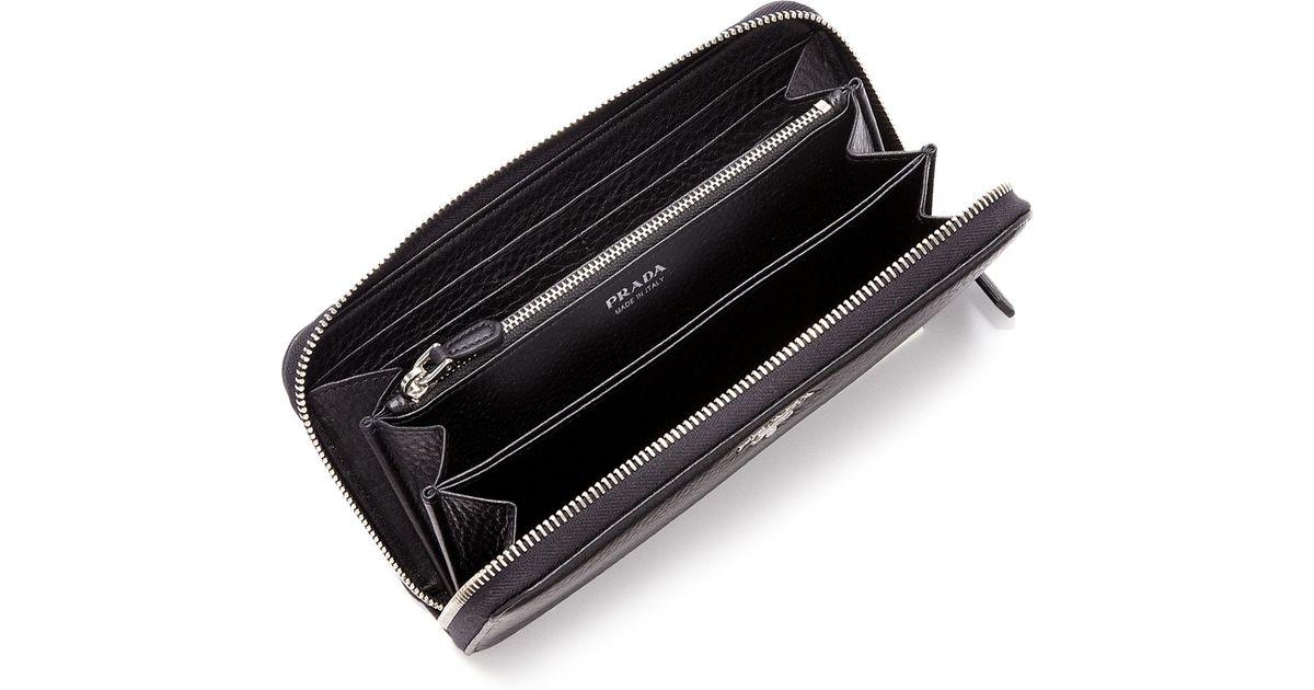 pink prada bag - Prada Daino Leather Zip Continental Wallet in Black | Lyst