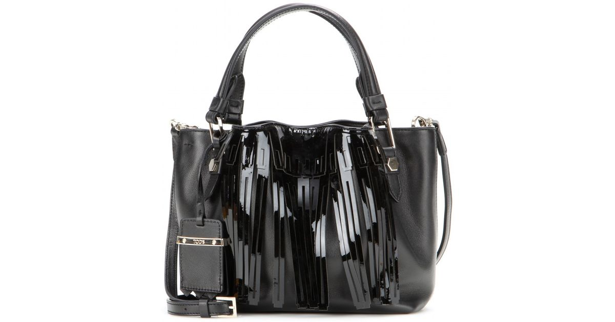 Tod s Flower Micro Fringed Tote in Black - Lyst fd00441e1bbe8