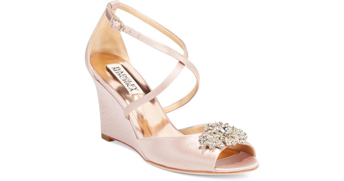 badgley mischka abigail evening wedge sandals in pink lyst