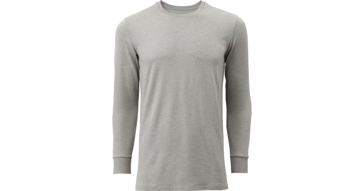 Uniqlo men heattech extra warm t shirt long sleeve in gray for men lyst for Extra long dress shirts