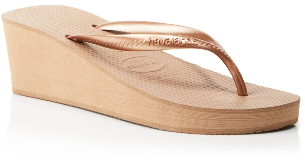 49a6a4e45bb Lyst - Havaianas Platform Wedge Flip Flops - High Fashion in Pink