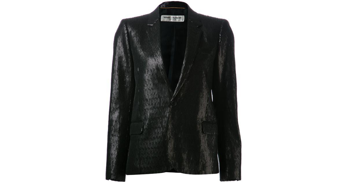 72a5f61e2a3 Saint Laurent Sequin Blazer in Black - Lyst