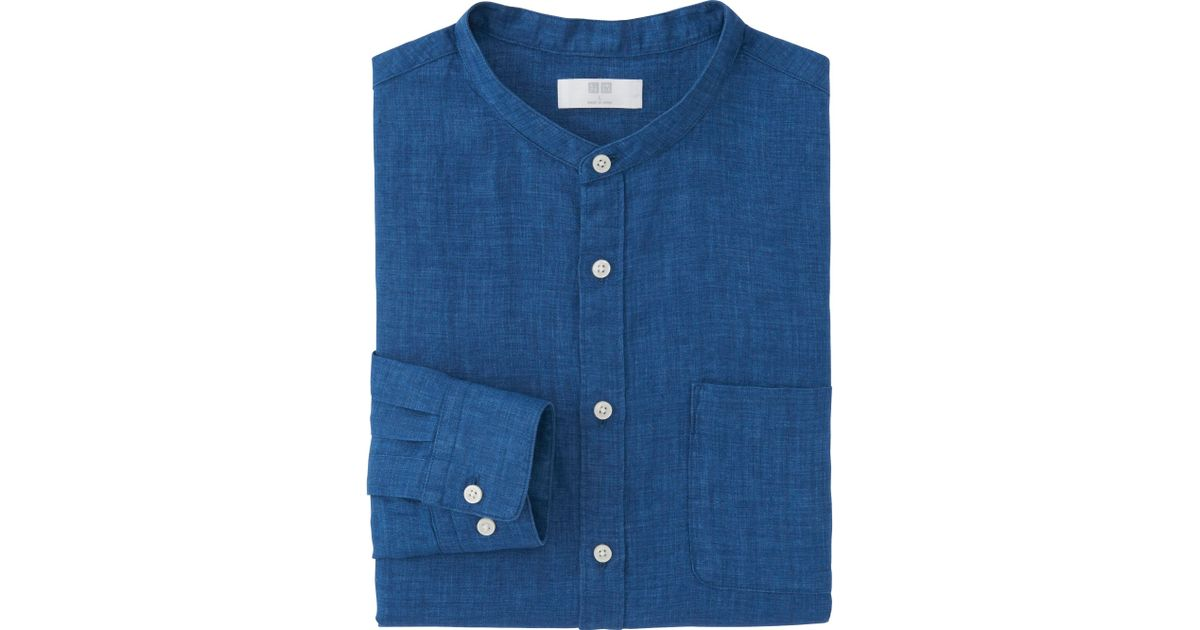 Uniqlo men premium linen stand collar long sleeve shirt in for Uniqlo premium t shirt