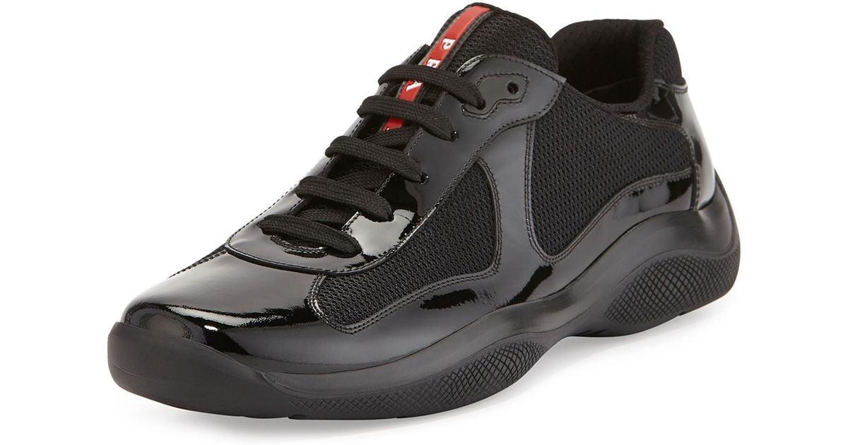 c09714f6 Prada Black Linea Rossa Americas Cup Patent Leather Sneaker for men