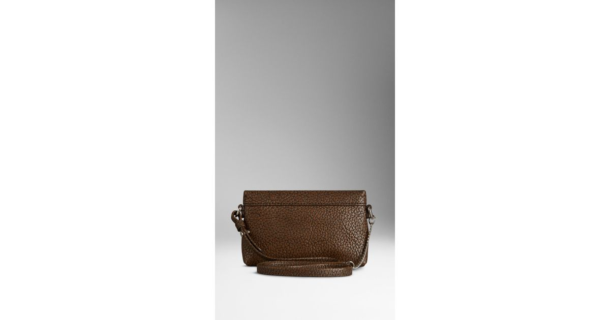 5c12ac1863e72 Lyst - Burberry Mini Two-Tone Grainy Leather Crossbody Bag in Brown