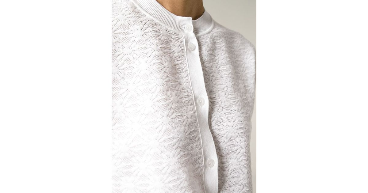Joseph Short Sleeve Floral Cardigan in White   Lyst