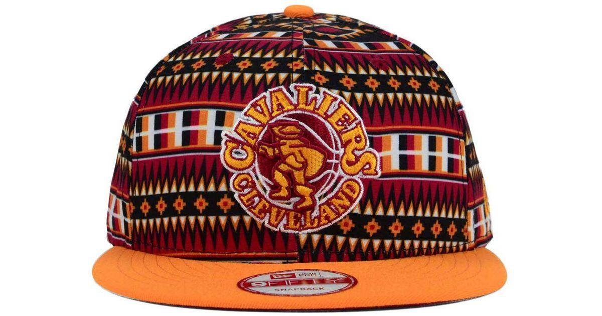 b6b7c2288 KTZ Multicolor Cleveland Cavaliers Hwc Tri-all Print 9fifty Snapback Cap  for men