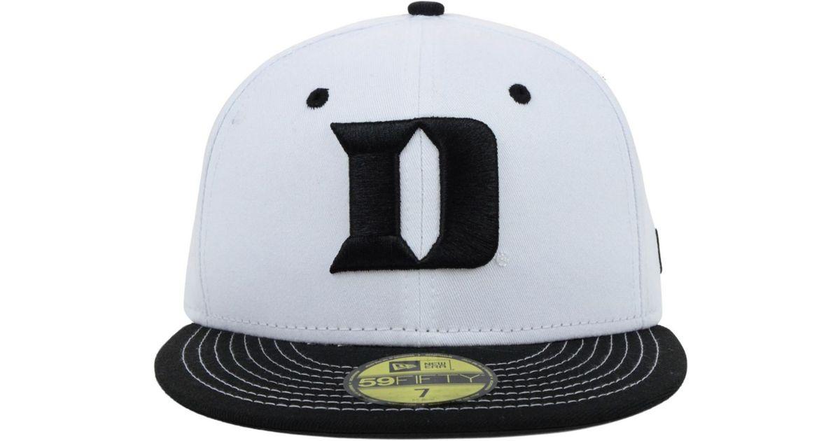 new high timeless design arriving KTZ Duke Blue Devils Ncaa White Black 59Fifty Cap for Men - Lyst