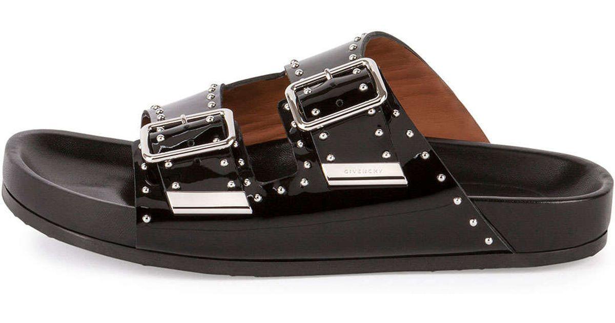 0e79134c8f63 Lyst - Givenchy Studded Leather Sandal Slide in Black