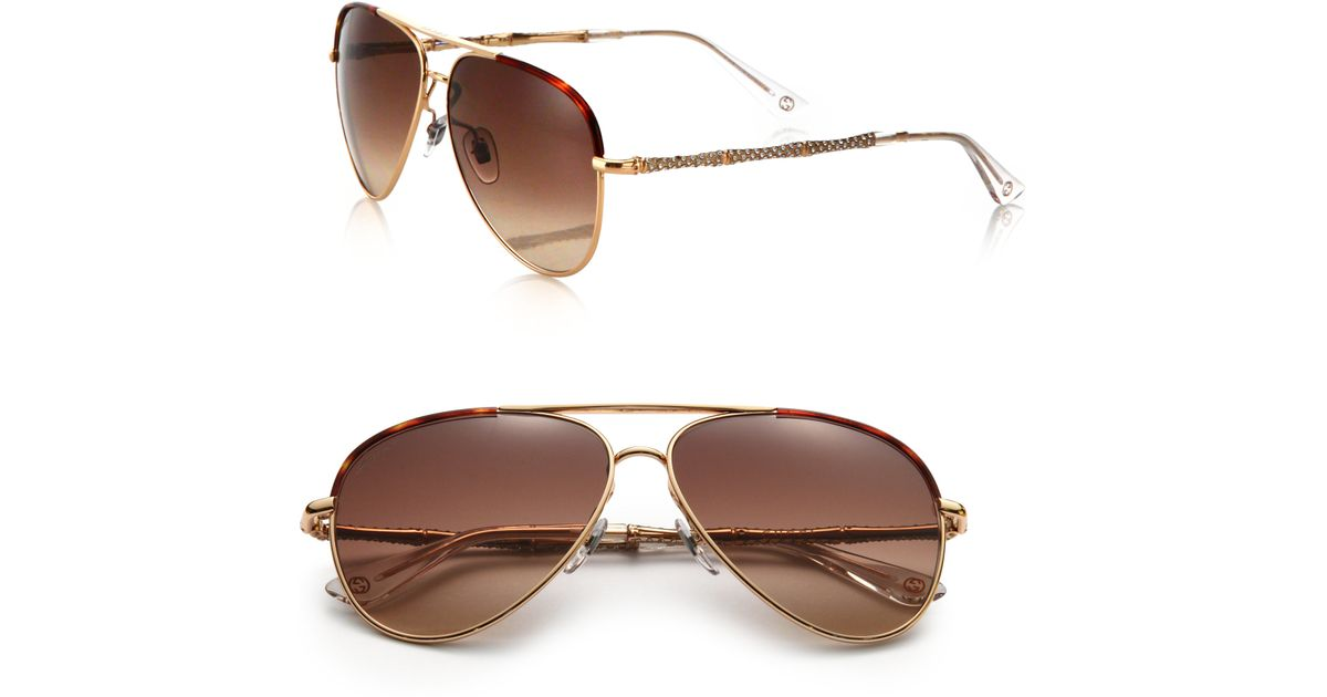 5cfd425ac0ce6 Lyst - Gucci 59mm Bamboo-detail Metal Aviator Sunglasses in Metallic
