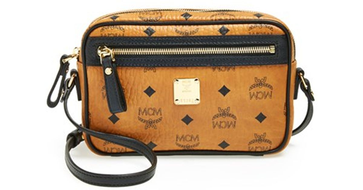 2503f84dc MCM 'small Cognag Visetos' Coated Canvas Crossbody Bag in Brown - Lyst