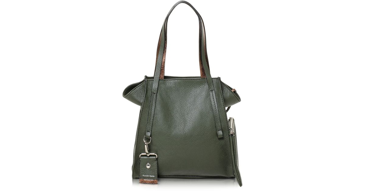 Lyst Francesco Biasia Electrical Laminated Leather Tote In Green