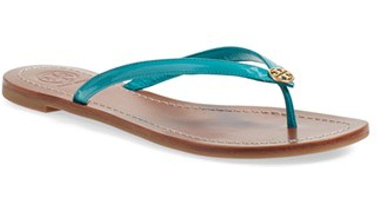 9b71456774b Lyst - Tory Burch Terra Leather Flip-Flops in Blue