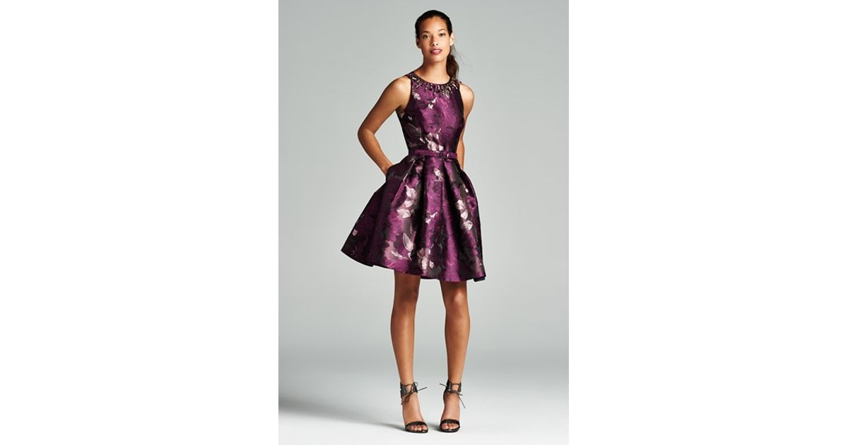 d771afb57ceb8 Eliza J Purple Embellished Neck Jacquard Fit & Flare Dress
