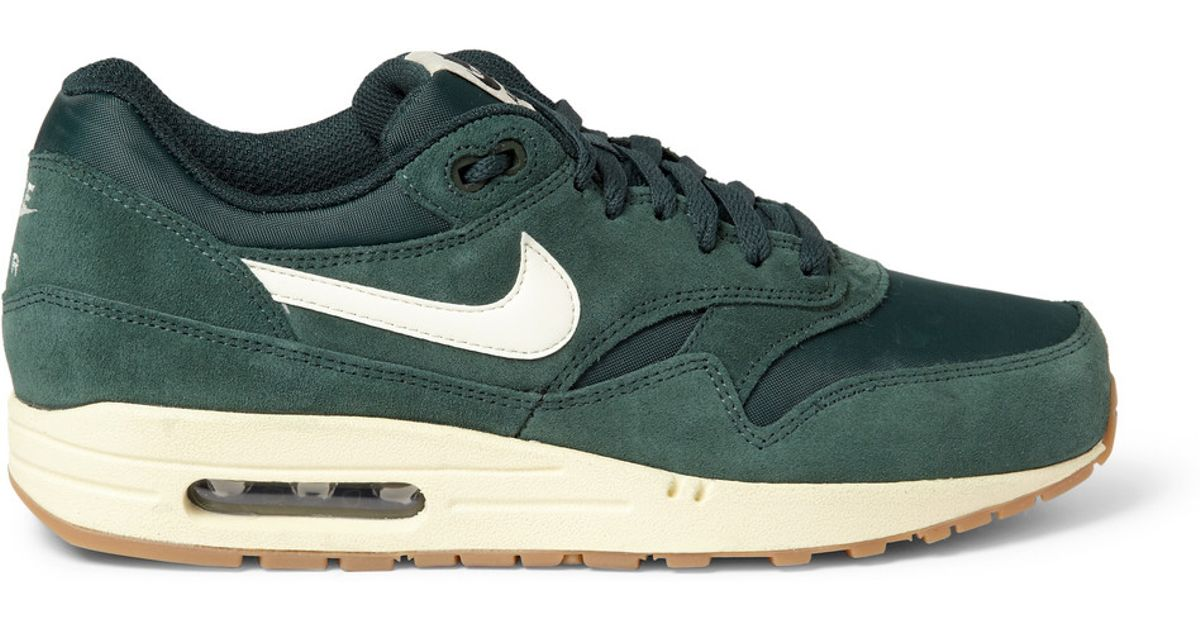 online retailer look good shoes sale low price sale Nike Green Air Max 1 Essential Suede and Mesh Sneakers for men
