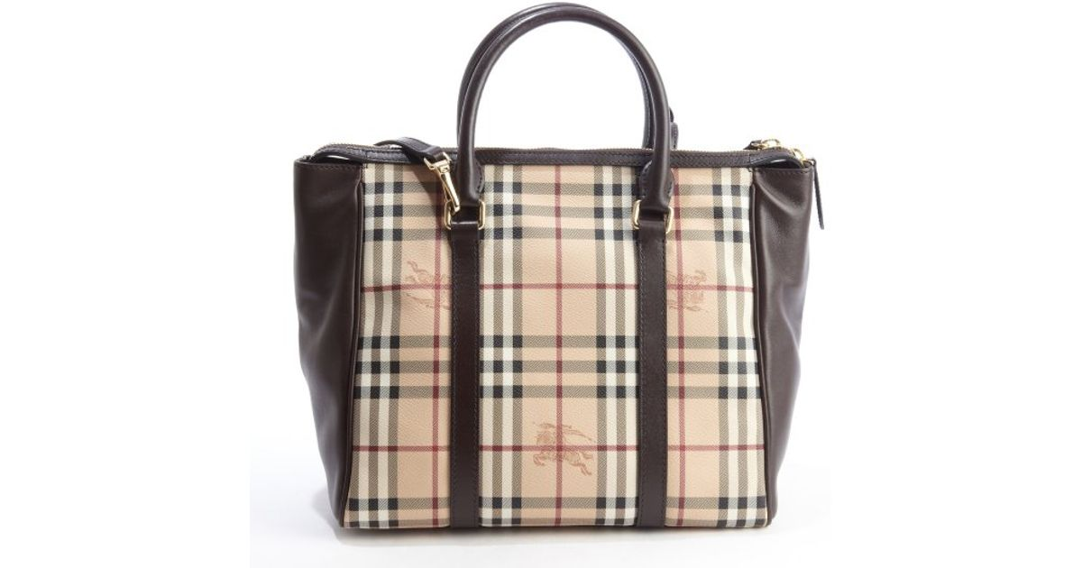 25467f652d30 Lyst - Burberry Beige and Brown Leather and Coated Canvas Haymarket Chatton  Large Tote in Natural