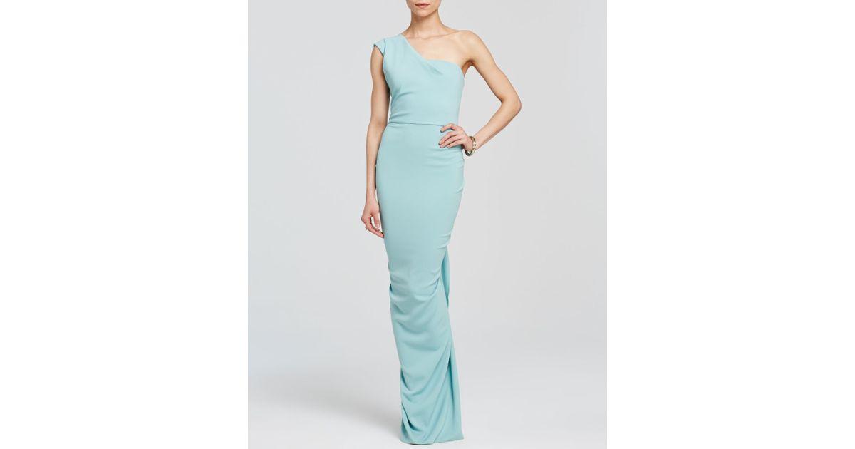 Lyst - Nicole bakti Gown - One Shoulder Ruffle Back in Green