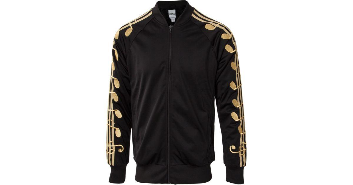 ffe7e529c09c Jeremy Scott for adidas Music Note Track Jacket Black Gold in Black for Men  - Lyst