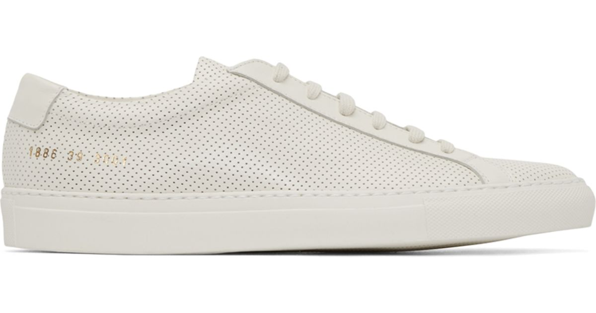common projects off white perforated original achilles sneakers in white for men lyst. Black Bedroom Furniture Sets. Home Design Ideas