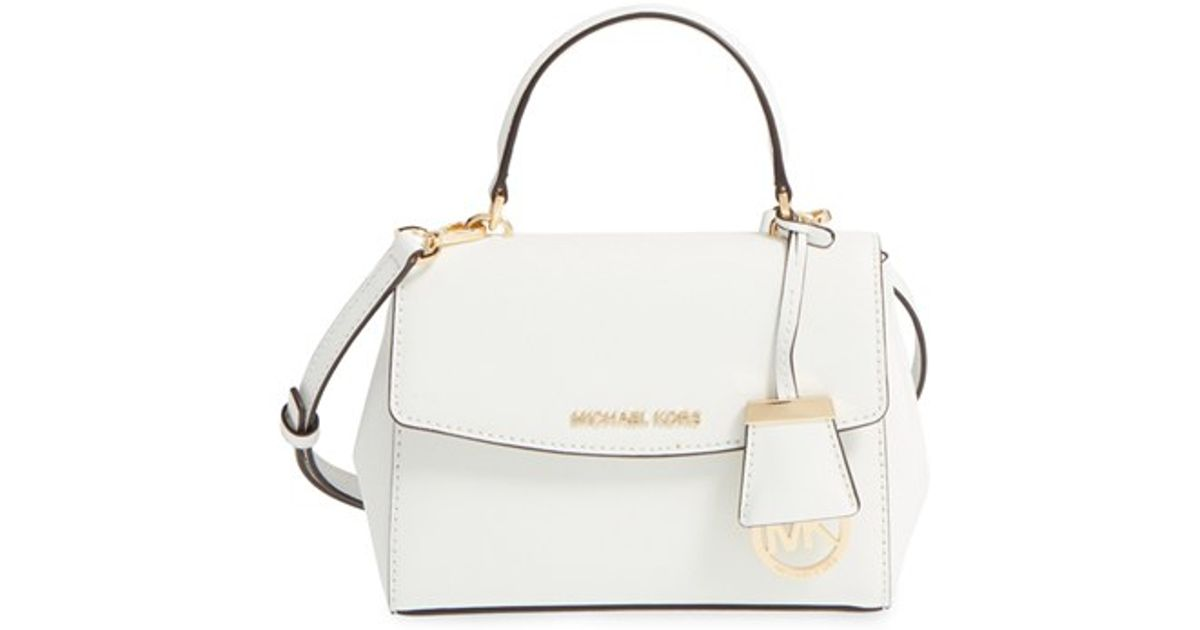 Lyst Michael Kors Extra Small Ava Leather Crossbody Bag In White