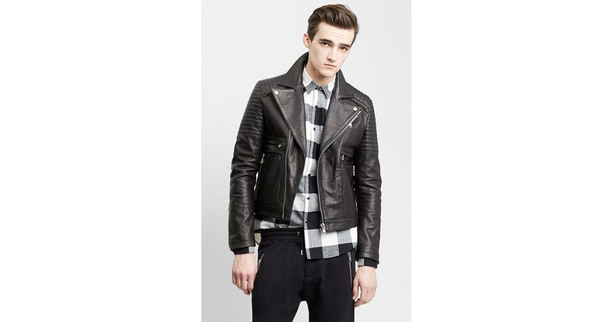 881892a7928 The Kooples Sport Leather Moto Jacket in Black for Men - Lyst
