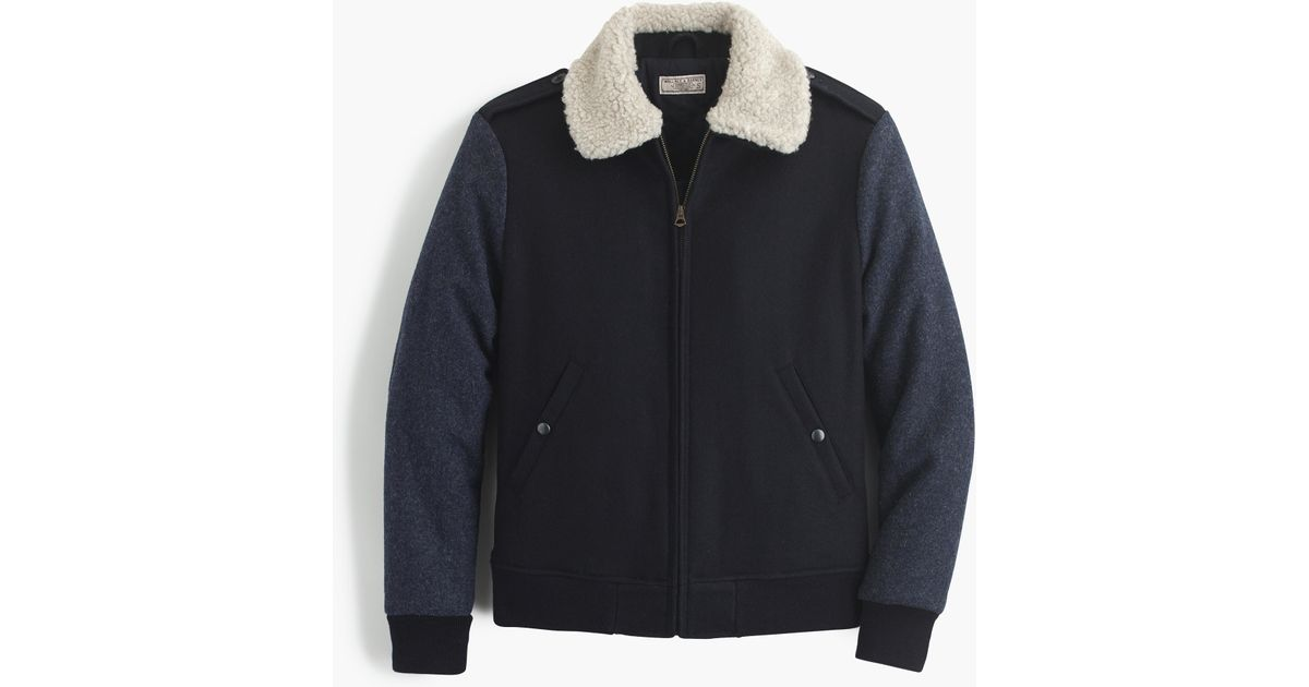 1d521ae81 J.Crew Blue Wallace & Barnes Sherpa-collar Contrast Wool Bomber Jacket for  men