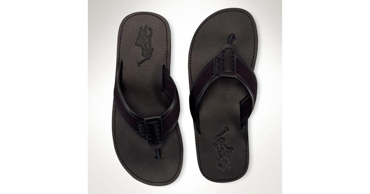 8a74b64cd572 ... france lyst polo ralph lauren leather sullivan flipflop in black for men  82774 3c512 ...